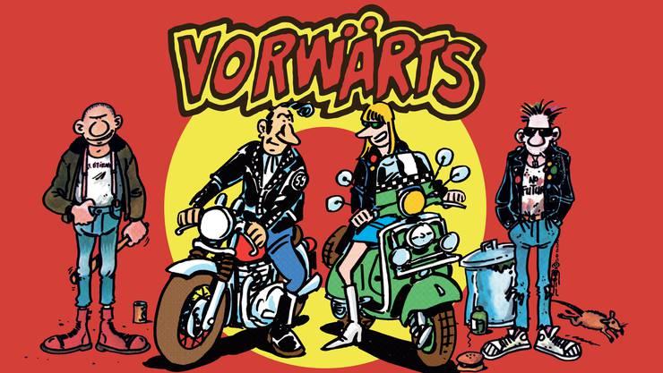 «Skinheads Rockers Mods & Punks» heisst das vierte Album von Vorwärts. Das Cover stammt vom französischen Zeichner Frank Margerin.