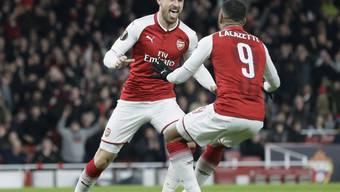 Arsenals Doppeltorschützen unter sich: Aaron Ramsey (links) und Alexandre Lacazette