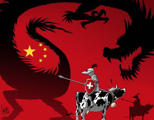 Der chinesische Drache erscheint nicht nur der Schweiz als übermächtiger Gegner, dem es mutig Paroli zu bieten gilt.