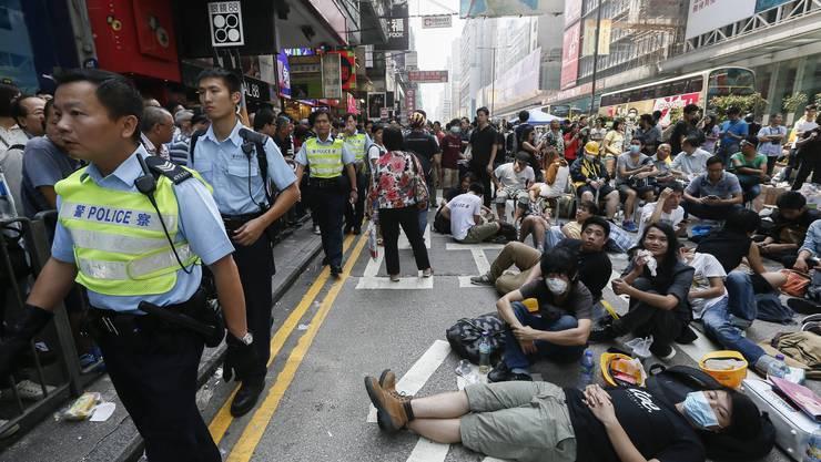 (Noch) bleiben die Demonstranten in Hongkong für eine direkte Demokratie dran, wie im Bild vom 17. Oktober 2014