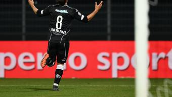 Davide Mariani dreht nach seinem 1:0-Siegtor jubelnd ab