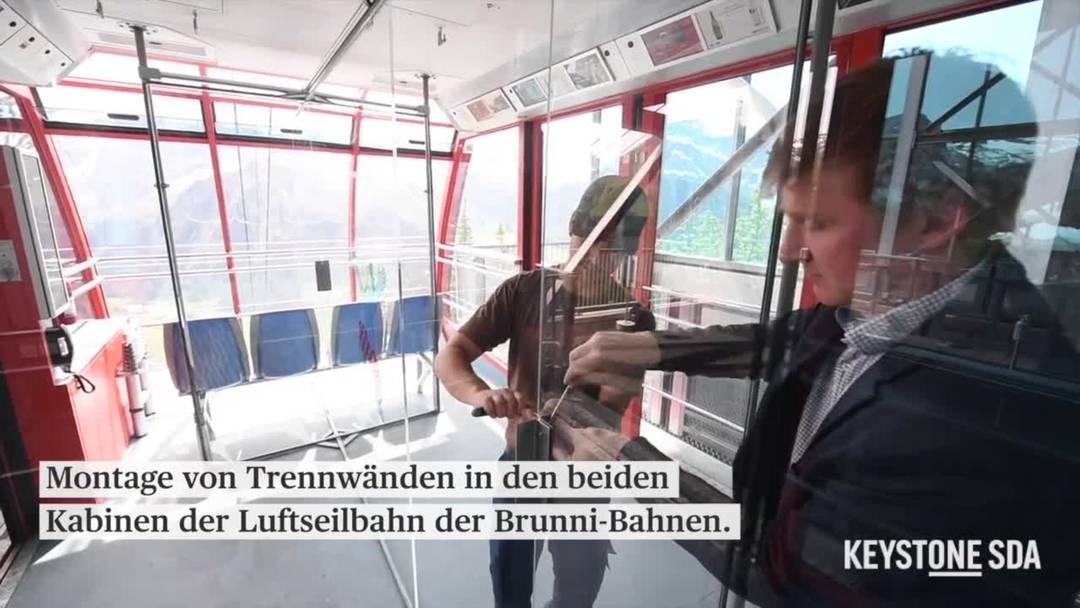 Montage von Trennwänden in Kabinen der Brunni-Bahn