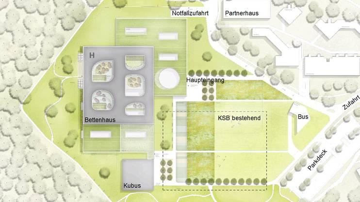Situationsplan für den Neubau des Kantonsspitals Baden