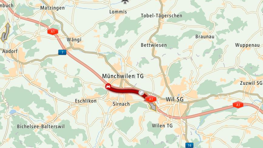Auf der Autobahn A1 staut es wegen eines Unfalls.