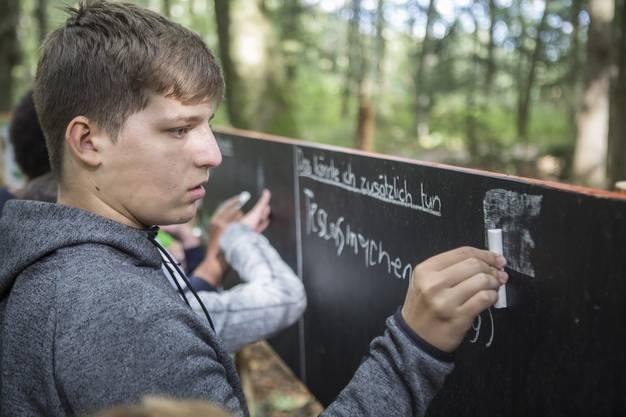 Die Schüler machen sich Gedanken über das eigene Umweltbewusstsein