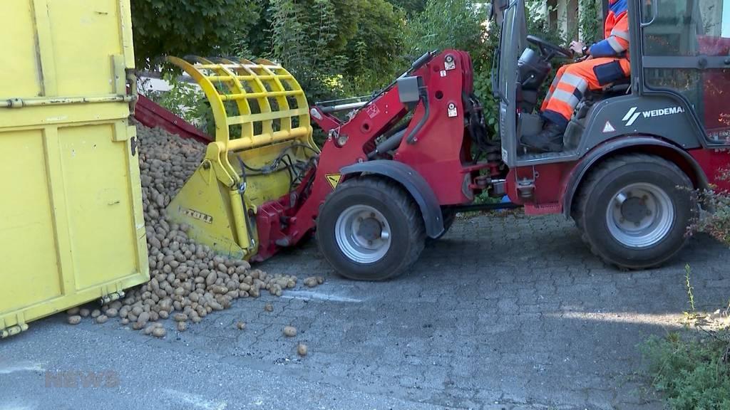 Falsch abgeladen: In Aarwangen verliert ein LKW tonnenweise Kartoffeln