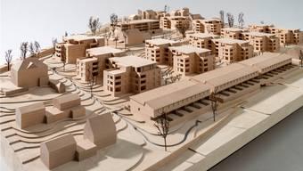 Erstmals zu sehen: Ein Modell der Überbauung Baumgarten im Küttiger Dorfteil Rombach. Die Reiheneinfamilienhäuser entstehen ob der Bibersteinerstrasse.
