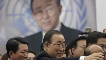 Für den früheren UNO-Generalsekretär Ban Ki Moon könnten die Vorwürfe an die Adresse seines Bruders zur Hypothek werden: Es soll sich für das Präsidentenamt in Südkorea interessieren. (Archivbild)