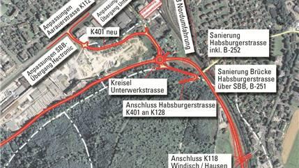 Der Verkehr soll westwärts über die geplante Kantonsstrasse 128 (rot bezeichnet) an Windisch und Brugg vorbeigeführt werden.