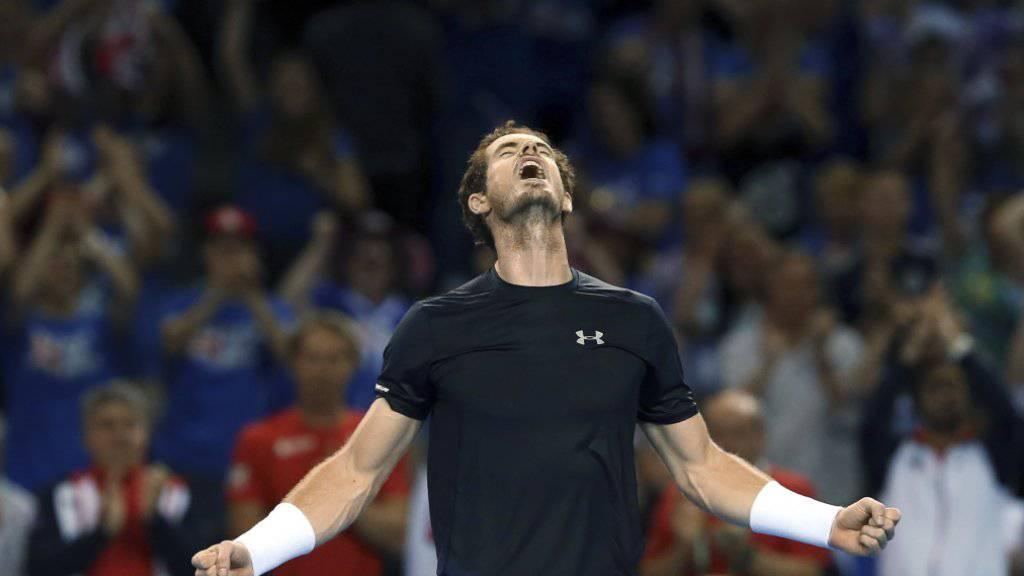 Andy Murray zelebriert den Heimsieg in Glasgow und das Erreichen des Davis-Cup-Finals