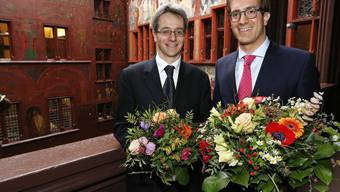 Der neue Grossratspräsident Conradin Cramer (re) mit Statthalter Christian Egeler (li).