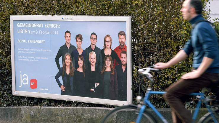 Wahlplakat der Zürcher SP zu den Gemeinderatswahlen im Februar 2014. (Archiv)