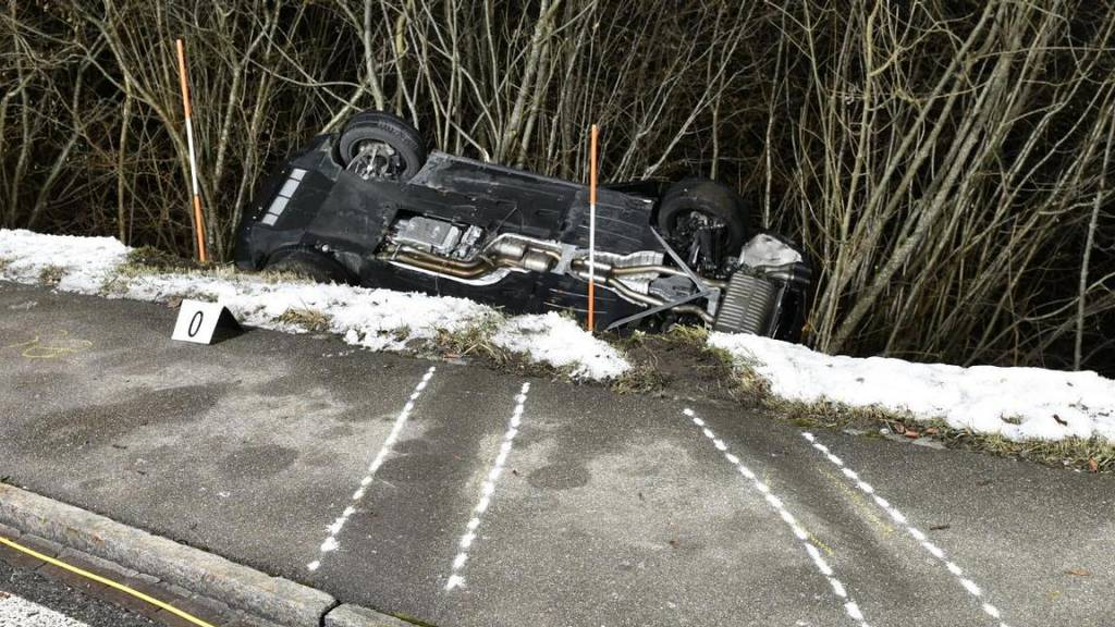 Vier Beifahrer nach Selbstunfall verletzt