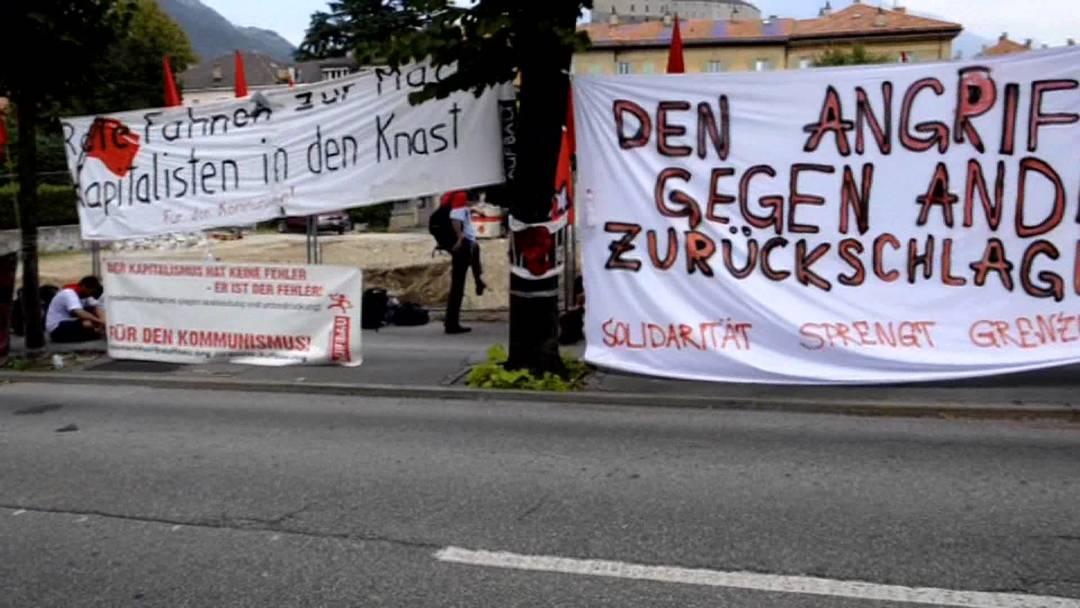 Linksautonome protestieren in Bellinzona für Andrea Stauffacher