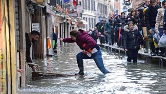 Hochwasser im Zentrum der italienischen Stadt Venedig.