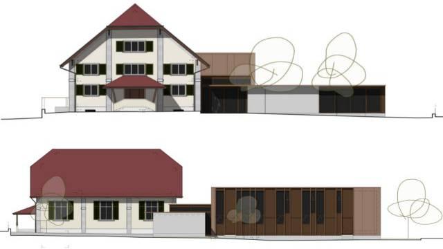Diese Visualisierung zeigt die bereits bestehende Kapelle (oben) mit dem geplanten Anbau.