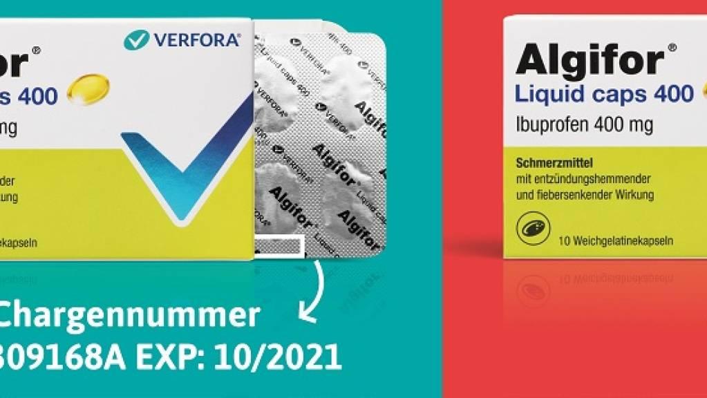 Konsumentinnen und Konsumenten, die seit dem 3. März Algifor Liquid Caps 400 mg gekauft haben, sind gebeten, zu kontrollieren, ob die Durchdrückverpackung mit den Kapseln die Aufschrift «Algifor» trägt.