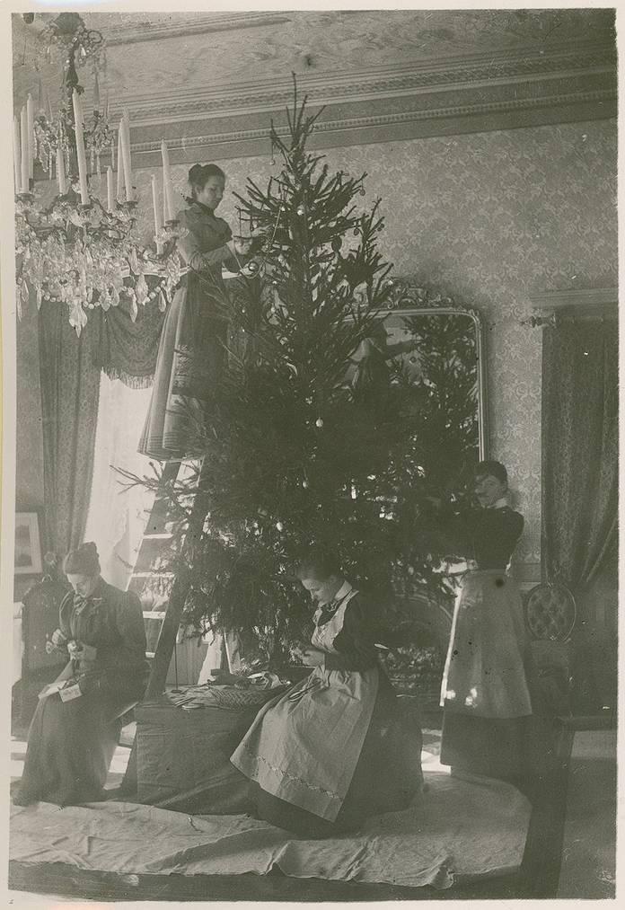 Damen schmücken im Jahr 1900 einen Weihnachtsbaum zusammen. (Bild: Staatsarchiv St.Gallen)