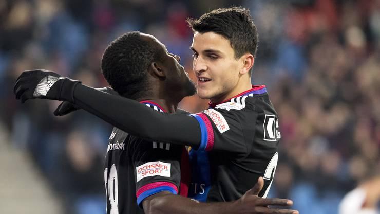 Zusammen mit Seydou Doumbia bejubelte Mohamed Elyounoussi das 1:0 gegen Vaduz.