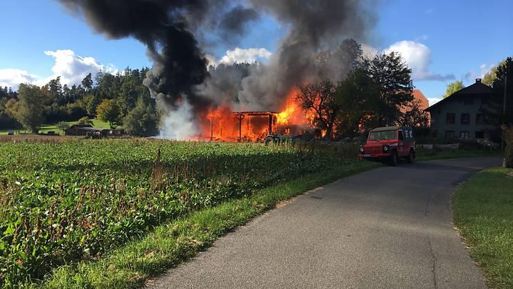 Als die Feuerwehrleute am Brandort eintrafen, stand die frühere Sägerei bereits in Vollbrand.