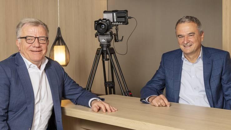Hansueli Loosli (l.) tritt als Coop-Verwaltungsratspräsident ab, Konzernchef Joos Sutter (r.) soll ihn beerben.