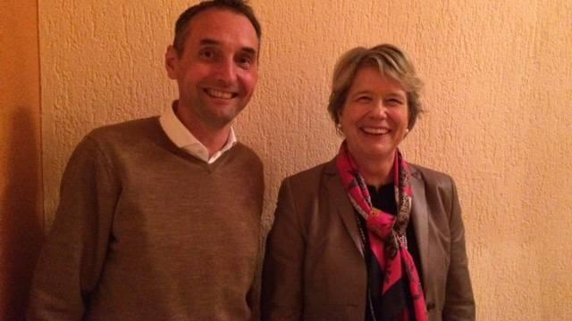 FDP Nationalrätin Corina Eichenberger zusammen mit Luigi Scura, Präsident FDP Rupperswil