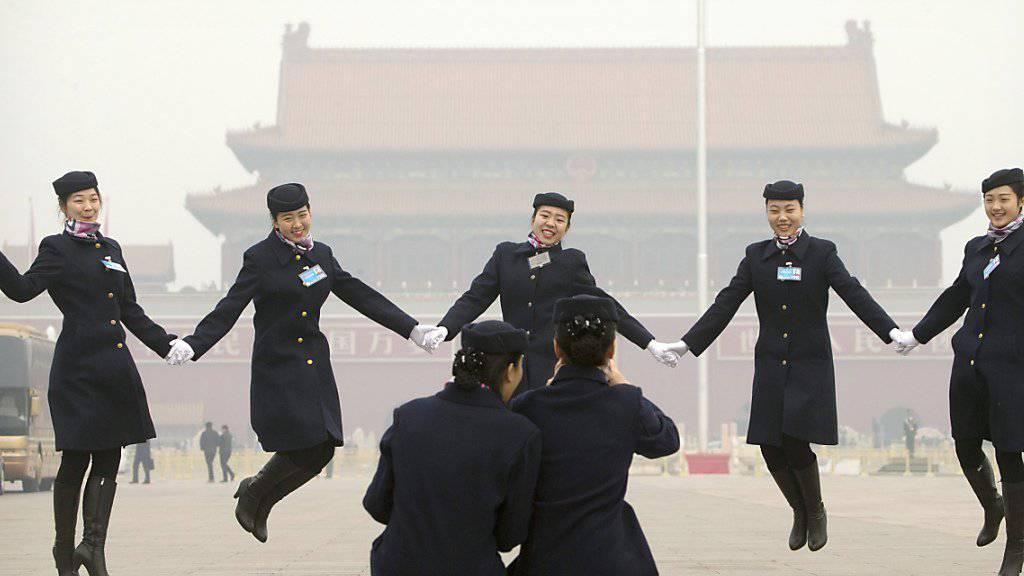 Sprung nach oben: China will bis 2020 jährlich um 6,5 bis 7 Prozent wachsen, wie es am Volkskongress in Peking hiess.