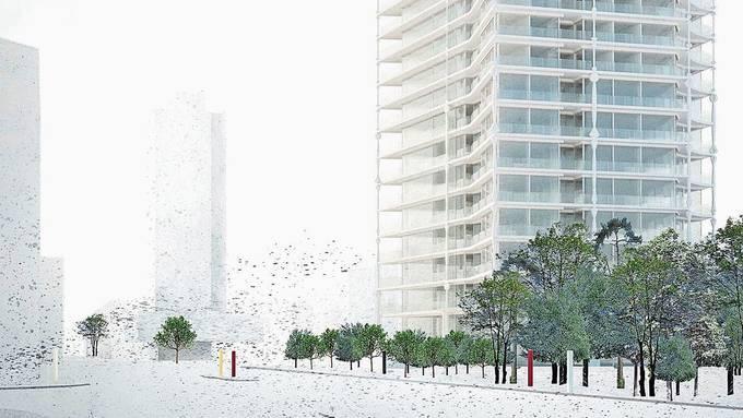 Wenn alles glatt läuft, könnte das Hochhaus auf dem Kismer-Areal 2025 fertig sein.