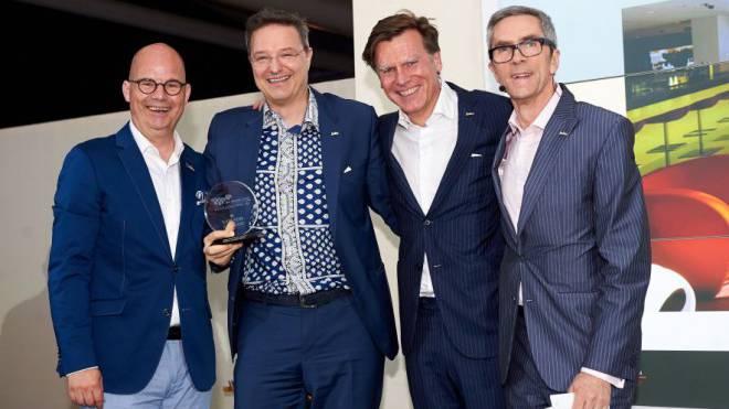 Willem Van Der Zee, Area Vice President Central Europe; Markus Conzelmann, General Manager, Radisson Blu Hotel, Lucerne; Wolfgang Neumann, President & CEO; Michael Farrell, Senior Vice President, HR.