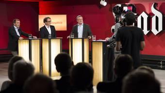 Die Vorbereitungen für die Liveübertragung von «Talk Täglich» mit den Badener Stadtratskandidaten laufen in der Druckerei auf Hochtouren.