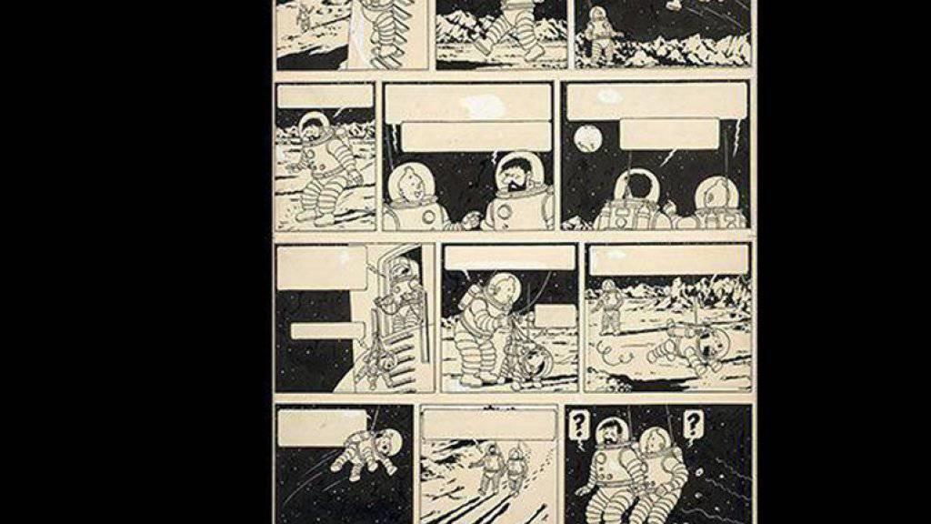 1,55 Millionen Euro hat ein «Tim und Struppi»-Fan bei einer Auktion für diese Originalzeichnung aus dem Band «Schritte auf dem Mond» geboten.