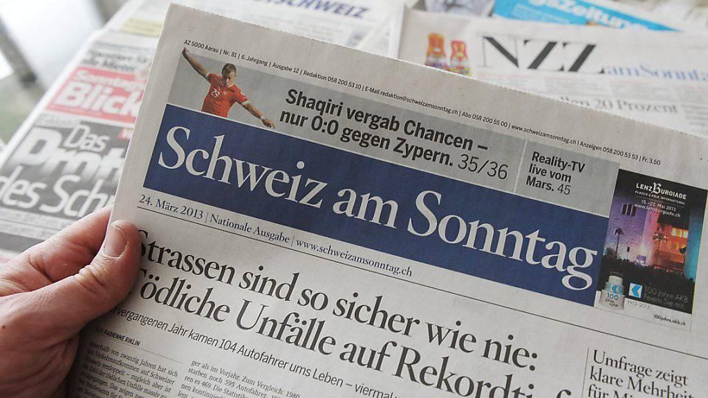 Verschwindet vom Zeitungsmarkt: Der Titel «Schweiz am Sonntag» der AZ Medien existiert noch bis im März. (Archivbild)