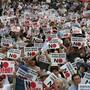 Eine Demonstration gegen japanische Strafmassnahmen in einem Handelsstreit fand am Wochenende in der südkoreanischen Hauptstadt Seoul statt.