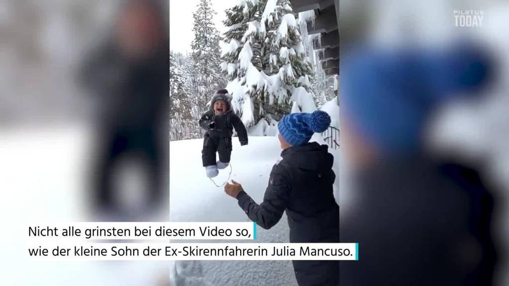 Ex-Skifahrerin wirft Sohn in Schnee – nicht alle finden es lustig