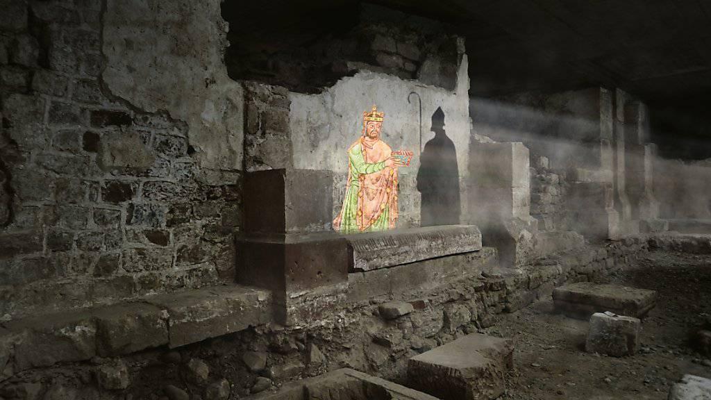 Multimediale Zeitreise durch die Baugeschichte des Basler Münsters in der neu geöffneten Krypta unter der Vierung.