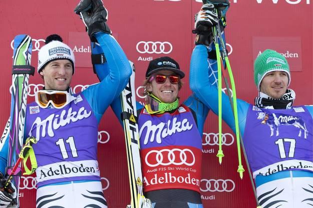 Sieger Ted Ligety mit Fritz Dopfer (2. Platz) und Felix Neureuther.