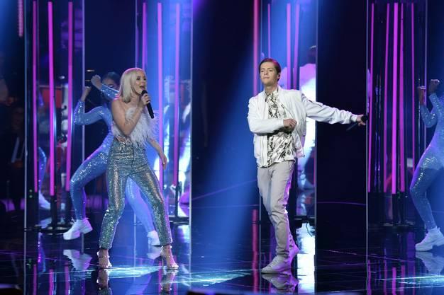 Final: Einer der Auftritte hatte Benjamin Dolic mit Zara Larsson. Am Ende holt er sich den zweiten Platz.