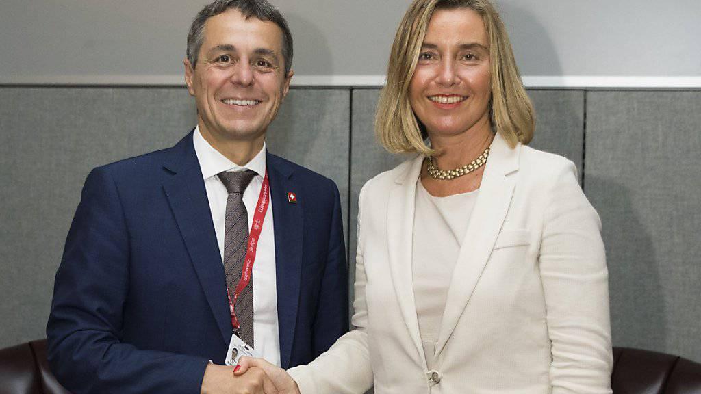 Aussenminister Cassis hat am Rande der Uno-Generalversammlung zahlreiche bilaterale Gespräche geführt. So traf er auch mit der EU-Aussenbeauftragten Federica Mogherini zusammen.