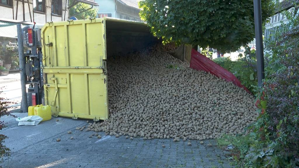 «Falsch» abgeladen: In Aarwangen verliert ein Aargauer LKW tonnenweise Kartoffeln