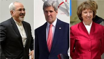 Verhandlungen in Genf: Aussenminister Mohammed Sarif und John Kerry und EU-Aussenbeauftragte Catherine Ashton