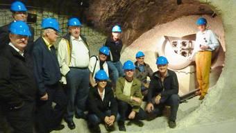 AVES-Mitglieder vor dem Modell eines eingelagerten Behälters mit abgebrannten Brennelementen. zvg