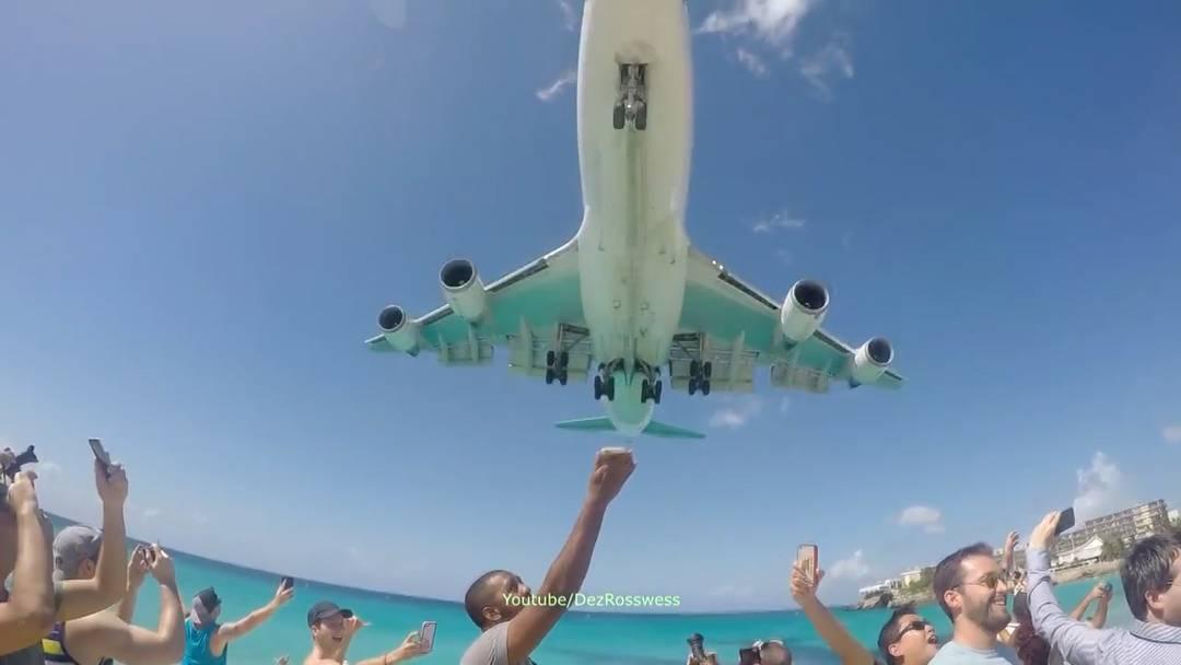 Die zweitletzte Landung einer Boeing 747 auf St.Martin.