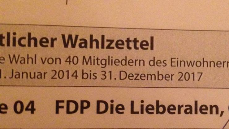 «FDP Die Lieberalen», so steht es auf dem amtlichen Wahlzettel für die Wohler Einwohnerratswahlen.ZVG
