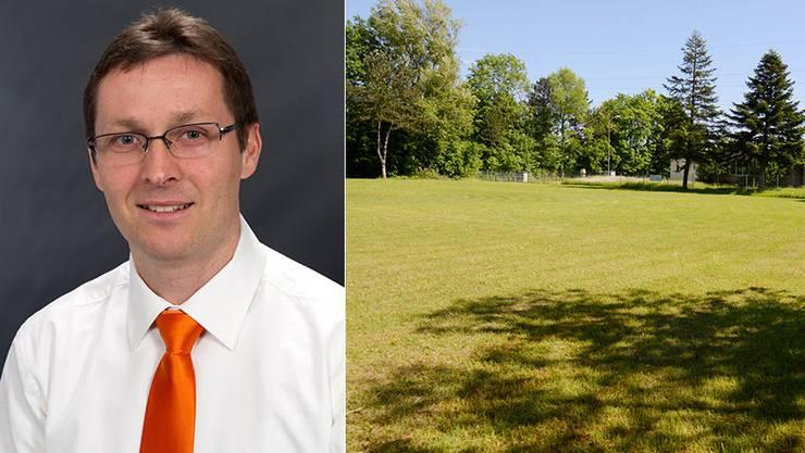 Gemeindepräsident Bruno Eberhard und das Stück Land, auf dem das Asylzentrum gebaut werden soll.