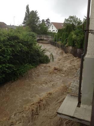 Die Siggern in Hubersdorf nach starken Regenfällen.