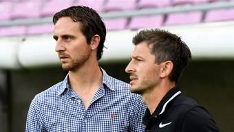 Aaraus Sportchef Sandro Burki (links) und sein Trainer Marinko Jurendic.