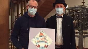 Grafiker Jean Marmier (links) und Markus Schär präsentierten das Bürener Fasnachtssujet.