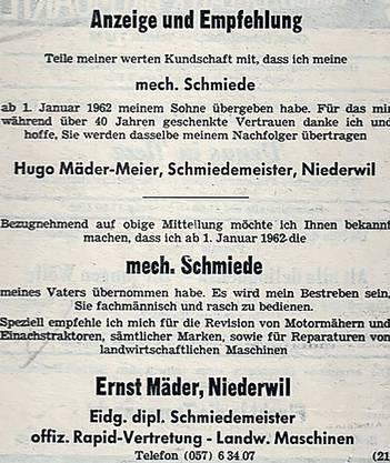 Das Inserat, mit dem im Jahr 1962 die Geschäftsübergabe vom Firmengründer Hugo Mäder an die zweite Generation bekannt gegeben worden ist.