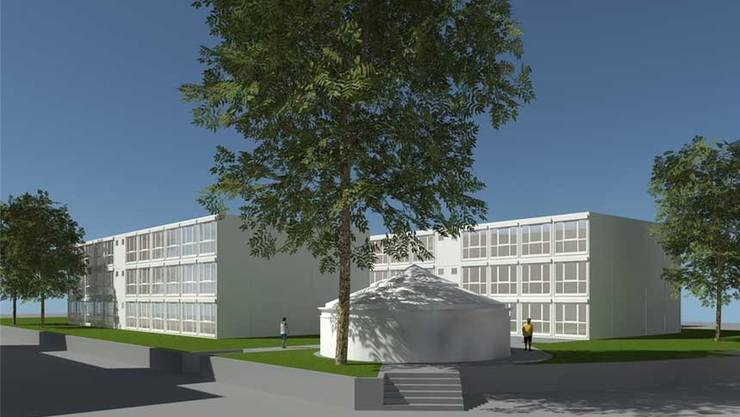 So sollen die beiden Pavillons auf der Ländliwiese aussehen. Visualisierung ZVG
