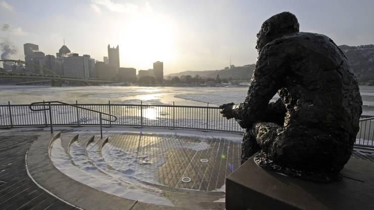 Eine gefrorene Statue in Pittsburgh
